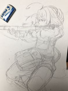 awesome on so many art levels. Manga Anime, Anime Art, Tanya Degurechaff, Tanya The Evil, Anime Weapons, Female Anime, Anime Sketch, Kawaii Anime Girl, Manga Drawing