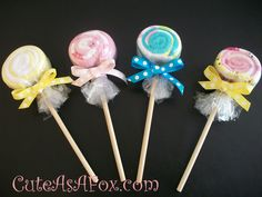 """Part 2 Of 3 Sweet Treat Combo...Lollipop Baby Wash Cloths, The Link Is For Baby Blanket Lollipops, But The Principle Is The Same..., Just Cut The Dowel So That It Is About 8"""" To 12"""" Long (Depending On Your Desired Length)...Link,,, http://www.cuteasafox.com/2010/03/blanket-lollipop-tutorial.html"""