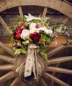 rustic country victorian bouquet red and white peonies, roses and clematis