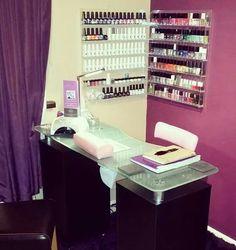 Home Nail Salon, Nail Salon Decor, Nail Place, Manicure, Nails, Nail Room, Ikea Desk, Ideas Para, I Shop