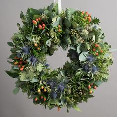 Fresh Flowers Delivered - Highland Christmas Out Door Foliage Wreath: Amazon.co.uk: Garden & Outdoors