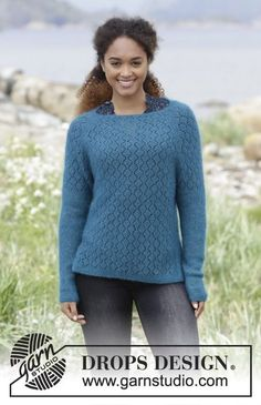 Song of the Sea - Knitted jumper with raglan, lace pattern, garter stitch and split in the side, worked top down. Sizes S - XXXL. The piece is worked in DROPS Kid-Silk. Free knitted pattern DROPS 181-22
