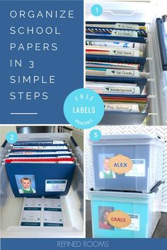 Drowning in kids' school paper clutter? Follow this step by step tutorial for organizing kids' school papers and memorabilia. This simple system will help you keep paper clutter at bay and allow you and your kids to enjoy their curated collection of school memorabilia. And don't forget to download your free labels! #paperclutter #paperorganization #organizing schoolpapers #organizingpaper #organizingkids School Paper Organization, Receipt Organization, Kids Room Organization, Organization Hacks, Organizing Kids Artwork, Organizing Tips, Organizing Your Home, Organize Kids, Household Binder
