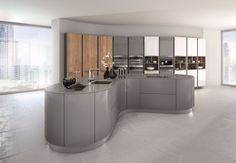 Grey  curved kitchen island design