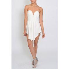 Rare London White Asymmetric Hem Dress ($70) ❤ liked on Polyvore