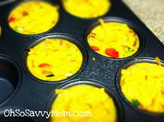 Individual Omelettes made in muffin tins...set out with a variety of toppings...great for a crowd to make each to their own liking!