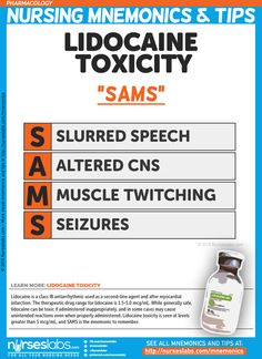 "Lidocaine Toxicity: ""SAMS"" Pharmacology Nursing Mnemonics and Tips: http://nurseslabs.com/pharmacology-nursing-mnemonics-tips/"