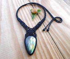 Labradorite macrame necklace macrame jewelry by SelinofosArt