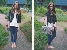 Outfit with leather jacket and Zatchel bag.