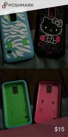 Cell phone cases Samsung galaxy 5 phone cases one hello Kitty and one blue and white zebra both have built in screen shields Accessories Phone Cases