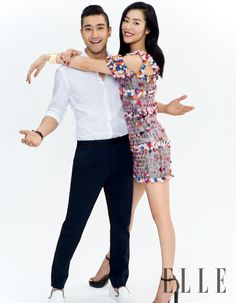 Liu Wen and 'We Are in Love' co-star Choi Siwon by Zack Zhang for ELLE China June 2015