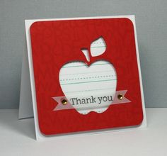"Sweet Teacher ""Thank You"" Card...with a negative die apple cut...cardediem."