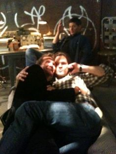 The best part of this picture is Jensen in the background, just clearly giving up. ~Supernatural