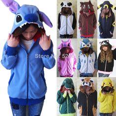 Animal Hoodie Japan Ears Face Tail Zip Hoody Sweatshirt Costume Cosplay Hoodies S M L XL aliexpress.com
