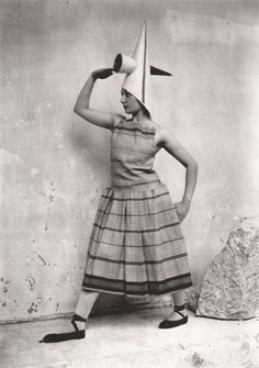 """Constantin Brancusi (Romania 1876 - France 1957); costume designed for Eric Satie's ballet """"Gymnopedies,"""" 1922. Modeled by Lizica Codreanu (b. 1901), a Romanian dancer and member of Diaghilev's Ballets Russes, in Brancusi's studio."""
