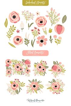 INTRODUCING Blooming Tillies The Blooming Tillies floral graphic set includes fun and bright floral elements that are perfect for invitations, art prints, logo Exotic Flowers, Purple Flowers, Hibiscus Flowers, Yellow Roses, Pink Roses, Flowers Background, Rosa Pink, Aesthetic Painting, Aesthetic Drawing