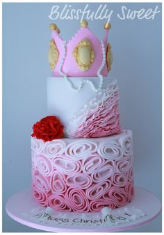 Ruffles and roses and a princess crown... everything about this cake is exceedingly girly.