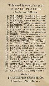1909 Philadelphia Caramel E95 #16 Christy Mathewson Back