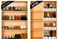 Looking to reduce annoying clutter or have limited storage space? This Stacking Shoe Organizer can double your current shoe storage space, while also providing better shoe protection and organization. The organization makes it easier to find the shoe you' Shoe Storage, Storage Spaces, Storage Ideas, Diy Storage, Storage Solutions, Bedroom Storage, Sneaker Storage, Storage Systems, Smart Storage