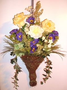 Purple and Gold in Springtime.. easter wreath ... Spring Wreath Check ...