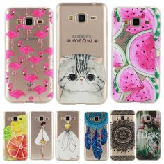 Phone Case for Samsung Galaxy J3 2016 J320 / J 3 J300 J310 Soft Silicon TPU Transparent Thin Cover Cute Cat Flamingo Fruit Cases