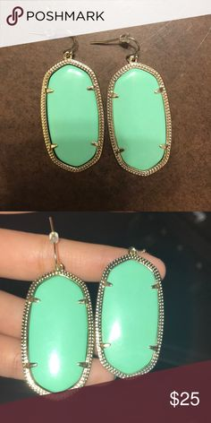 KENDRA SCOTT Danielle Earrings In Mint Green Worn maybe ONCE! Great condition! Mint green Kendra Scott Jewelry Earrings