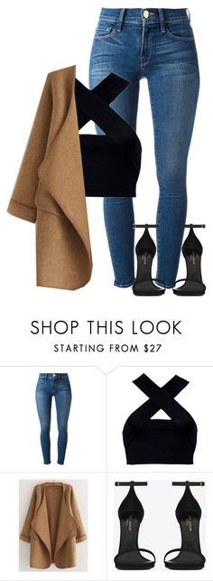 """saint devi."" by dopemvnd ❤ liked on Polyvore featuring Frame, Motel, WithChic and Yves Saint Laurent"