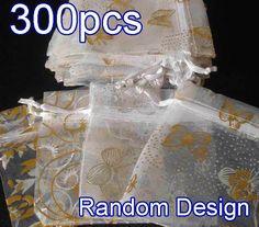 "300Pcs White Pattern Drawstring Organza Flare Wedding Gift Pouch Bag 2.7x3.5"""