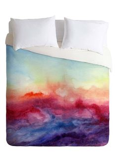 Watercolor sunset duvet bed cover