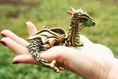 Realistic green dragon - from polymer clay