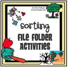 Instructions and printables to make 3 file folder activities to practice sorting animals by habitat, clothes by temperature, and fruits and vegetables. These are great hands-on activities to work on categorizing skills that can be used with early elementary students or children with disabilities. by theautismhelper.com