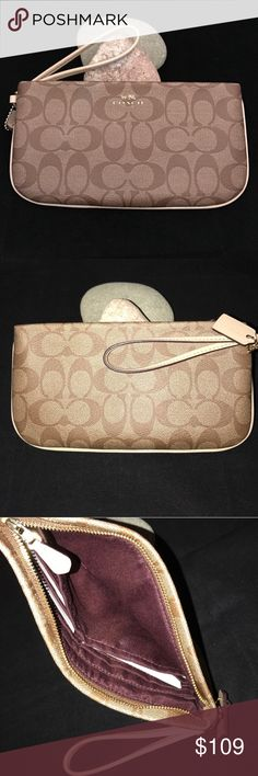 Coach Sig Large Wristlet NWT/Khaki-Platinum Coach Sig Large Wristlet NWT/Khaki-Platinum The strap and the coach charm along with the lining around the wristlet look like a bone patent leather color to me (see pic 4)  ✅FEEL FREE TO ASK ANY QUESTIONS  ✅Photos from the Internet could vary slightly from the item that is being shipped  ❎NO TRADES. MSRP $125 + tax. Coach Bags Clutches & Wristlets