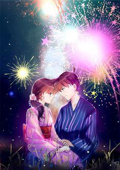 Fireworks, new year, Detective canon Ran And Shinichi, Kudo Shinichi, Detective, Gosho Aoyama, Detektif Conan, Romantic Anime Couples, Magic Kaito, Anime Japan, Wallpaper Backgrounds