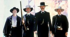 Val Kilmer, Sam Elliott, Kurt Russell and Bill Paxton in Tombstone Tombstone Movie Quotes, Tombstone 1993, Western Film, Western Movies, Western Art, Sam Elliott, Kurt Russell, Wyatt Earp, Doc Holliday