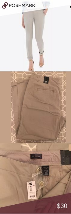 """The Limited Khaki Beige Ankle Chinos in Size 14 Brand New with Tags attached, Original Price $79.95. Size 14 Regular  This gorgeous pair of chinos from The Limited are great for spring and summer and will make a great addition to your wardrobe! Four pockets design, mid rise, with an awesome cuffed ankle.  Details: 97% Cotton, 3% Spandex Color: Khaki / Beige Size: 14 REGULAR  Measurements:  Waist 39"""" around, Inseam 27"""", Front Rise 10"""", Back Rise 15"""", and Leg Opening 14"""" around. The Limited…"""