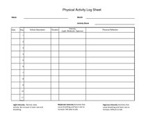 Workout Log Sheet | Physical Activity Log Sheet