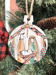 33 Adorably Cozy DIY Christmas Decorations and Crafts - The Trending House Nativity Ornaments, Wooden Christmas Ornaments, Nativity Crafts, Hand Painted Ornaments, Christmas Wood, Christmas Decorations, Nativity Scenes, Felt Ornaments, Christmas Nativity Scene