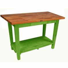 John Boos Oak Table Boos Block 60''W Kitchen Island With 1 Shelf