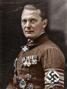 Hermann Wilhelm Göring 12/10/ 1893  15/10 1946. As commander of the Sturmabteilung (SA) 1920s Post Beer Hall Putsch. Wound badge. Glass Image.