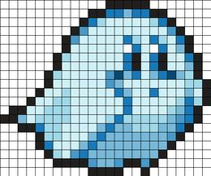 Ghost Kirby by Hippocratessocrates on Kandi Patterns Perler Bead Designs, Perler Bead Art, Perler Beads, Fuse Bead Patterns, Perler Patterns, Beading Patterns, Kandi Patterns, Pixel Beads, Fuse Beads