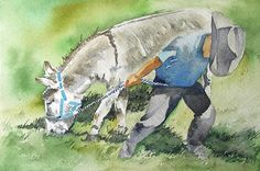 Little Cowboy with Donkey Painting Original Watercolor Art - 4 x 6 Art For Sale via Etsy
