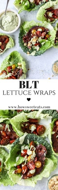 BLT Lettuce Wraps with Avocado Ranch I howsweeteats.com