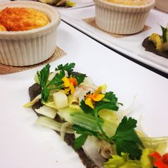 Celery Root Soufflé  Manilla Clam, celery, charred eggplant, and parsley with sherry and hazelnut vinaigrette from chef Marissa Gerlach at Vista Valley Country Club #chef gerlach #vistavalley #countryclub #food #restaurants #soufflés