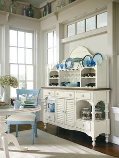 Coastal beach house cottage style dining room with nautical touches