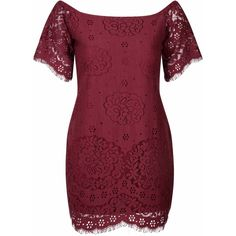 Burgundy Floral Lace Bardot Dress (£36) ❤ liked on Polyvore featuring dresses, burgundy, red dress, lace sleeve dress, floral dress, red off the shoulder dress and red party dresses