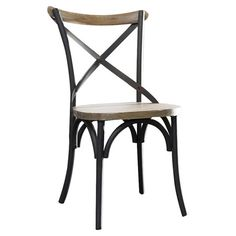 Set of two wood and steel x-back side chairs.   Product: Set of 2 chairsConstruction Material: Solid wood and steel