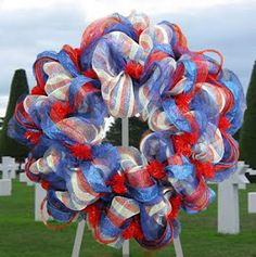 Memorial Day Wreath with poly mesh