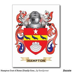 Hampton Coat of Arms (Family Crest) Postcard