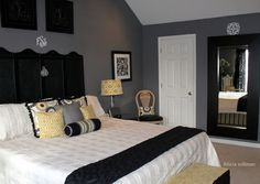 Yellow, black and gray bedroom...could be a good gender neutral nursery idea