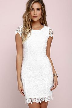 We admire any girl who can put together a great outfit but honestly the Hidden Talent Backless Ivory Lace Dress makes it easy! This beautiful bodycon dress has sheer cap sleeves and a backless design (with top button). Hidden back zipper/hook clasp. Pencil Dress With Sleeves, Dresses With Sleeves, Cap Sleeves, Short Sleeves, Trendy Dresses, Nice Dresses, Casual Dresses, Lulu's Dresses, White Bridal Shower Dress